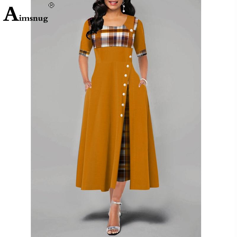 Elegant Women Plus Size 4xl 5xl Long Plaid Party Dresses Irregular Ladies Vintage Button Dress - plus-size-dresses