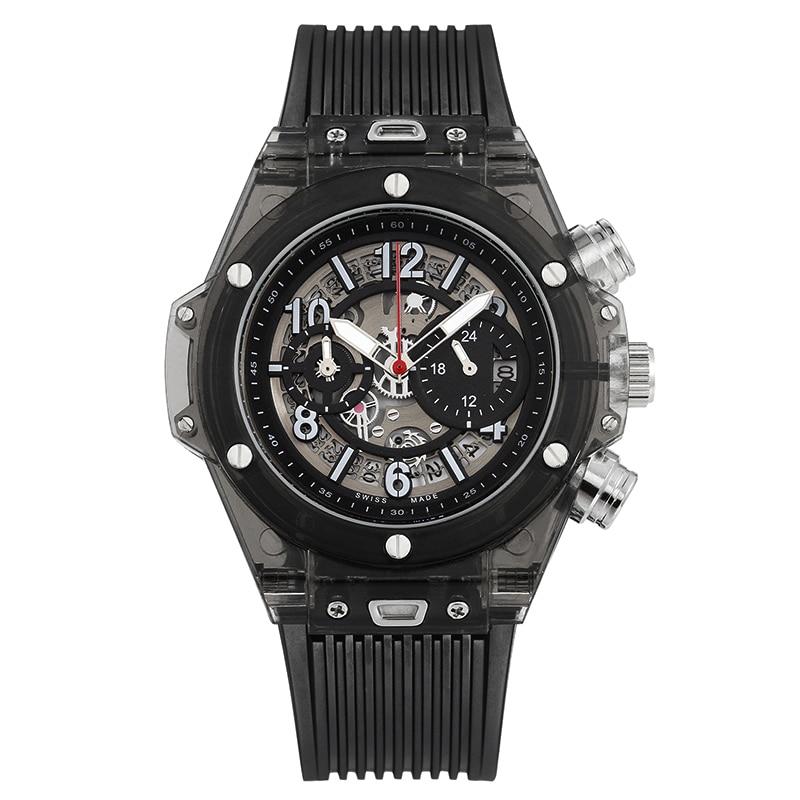 Image 4 - Full Transparent Watch Men Military Classic Silicone Sports  Quartz Chronograph Mens Watches Top Brand Luxury Relojes Hombre  2019Quartz Watches