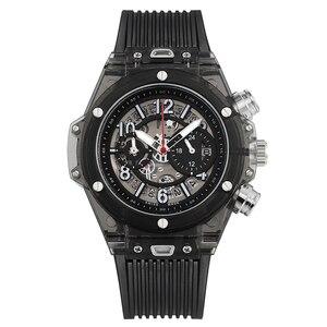 Image 4 - Voll Transparent Uhr Männer Military Klassische Silikon Sport Quarz Chronograph Herren Uhren Top Marke Luxus Uhren Hombre 2019