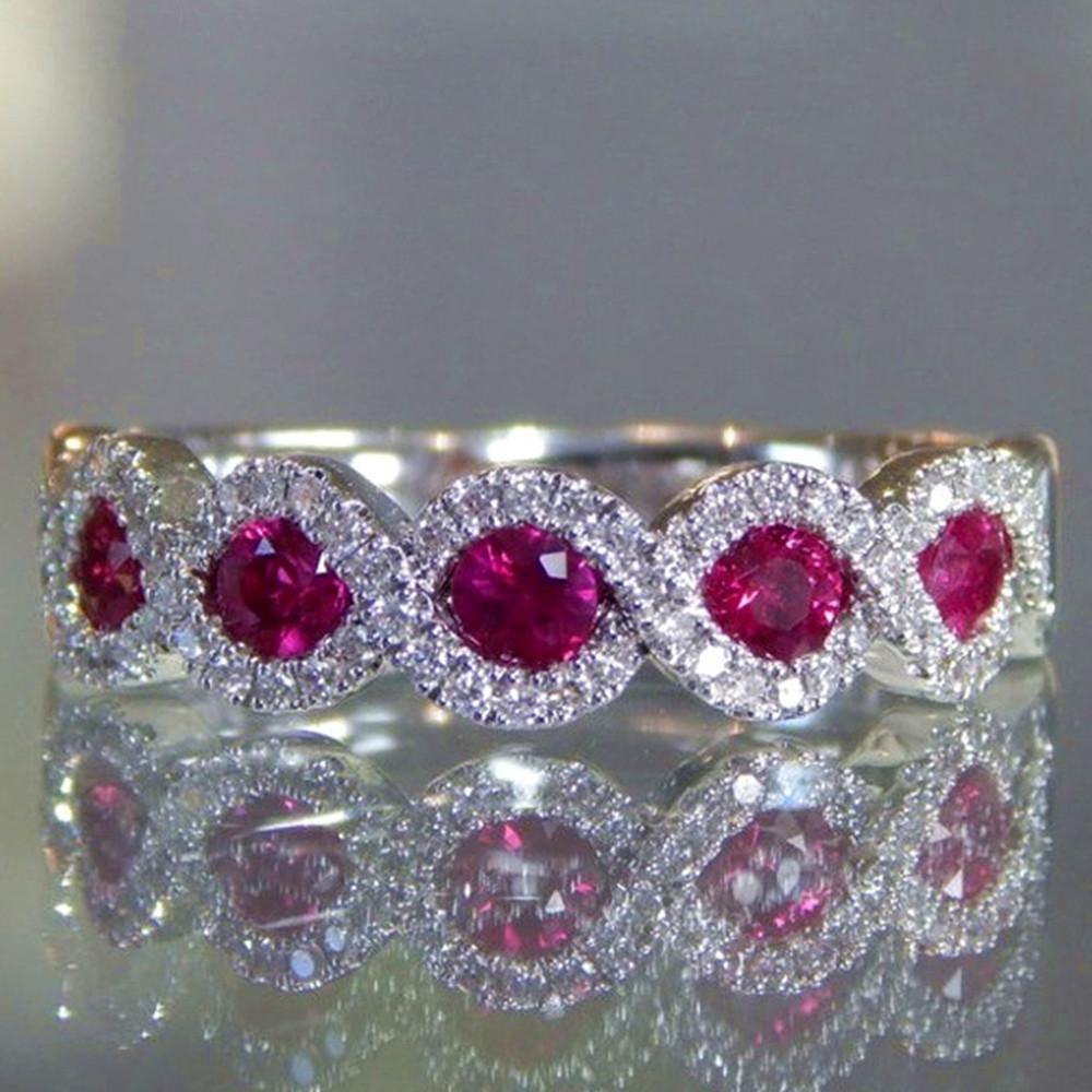 Red green crystal ruby emerald gemstones zircon diamonds rings for women white gold silver color jewelry bijoux wedding gifts
