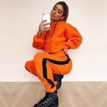 Orange Women Two Piece Set Long Sleeve Hooded Crop Tops Loos