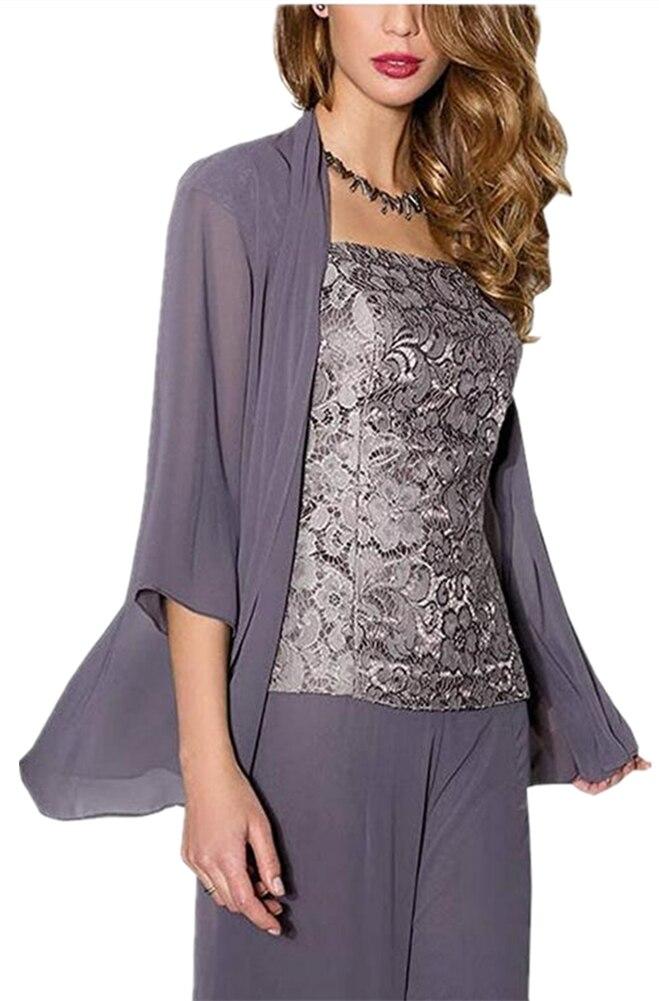 Lace Chiffon Mother Of The Bride Plus Size PantSuits 3 Pieces 3/4 Long Sleeve Mothers Suit With Chiffon Jacket+pants+vest