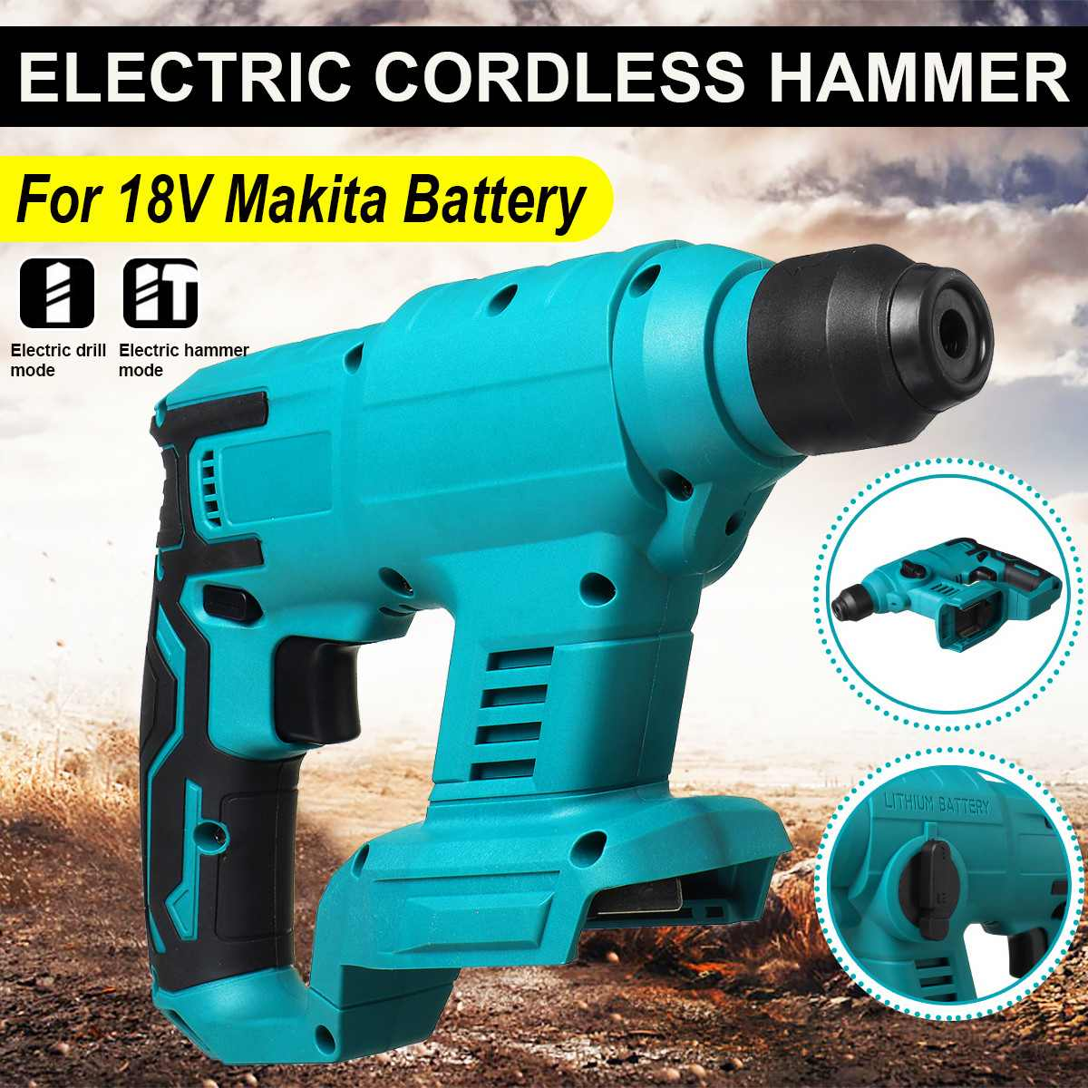 Rotary Makita Hammer Cordless Heavy Electric Hammer Battery Drill Drill Duty For Brushless Impact Multifunction 18V Rechargeable