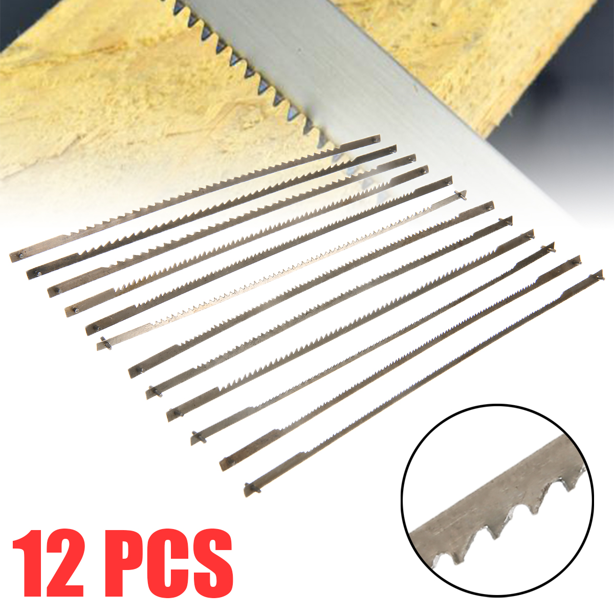 "12pcs 5"" 10/15/18/24 Teeth Pinned Scroll Saw Blades Woodworking Saw Blades Power Tools Accessories"