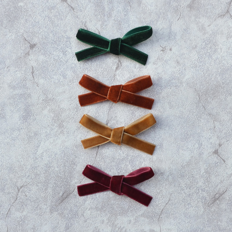 2019 Autumn Winter Wool Velvet Hair Clips  Green/Caramel/Camel/Burgundy Wool Vintage Bow For Toddler Girls Party Life