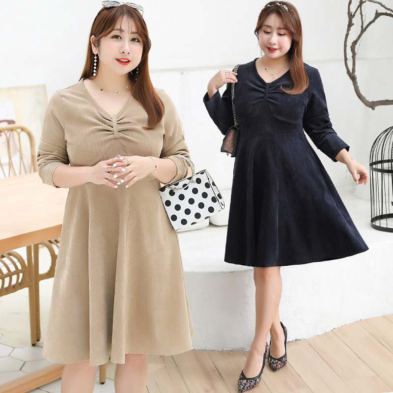 [Sold Out Lower Rack] Fat Mm Large Size Dress 200 Young-Style Chest Cover Dress A Generation Of Fat Y040D