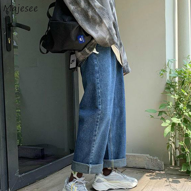Men Jeans Loose Solid 2XL Button Fly Retro Mens Denim Wide Leg Trousers Leisure Daily Streetwear Vintage Ins Chic All-match New