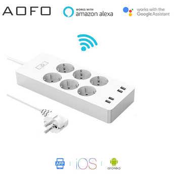 AOFO WiFi Smart Power Streifen Presa UE Surge Protector con 6 4 Porta USB Smart Home, casa Intelligente Interruttore di Controllo C
