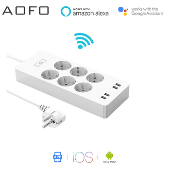 Smart Power Strip with 6 AC Outlets 4 USB Ports Surge Protector, with Timing Function Voice Control works with Alexa Google Home фото