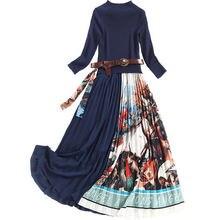 Элегантное трикотажное плиссированное платье миди в стиле пэчворк