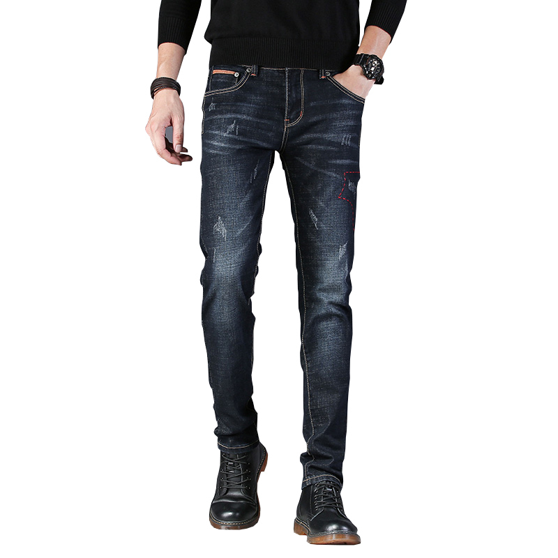 New Mens Brand   Jeans   Fashion Men Casual Slim Fit Straight High Stretch Feet Skinny   Jeans   Men Black Hot Sell Male Trousers