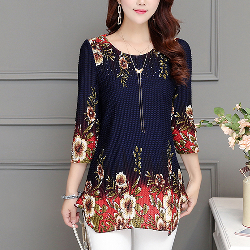 Women Tops 2020 New Blouse Shirt Plus Size 4XL Casual Blue Red Women's Clothing O-neck Floral Print Feminine Tops Blusas 993D
