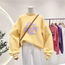 Sweat-shirt à manches longues et col ras du cou pour femme, sweat-shirt à capuche, Harajuku, nouvelle collection automne et hiver 2021