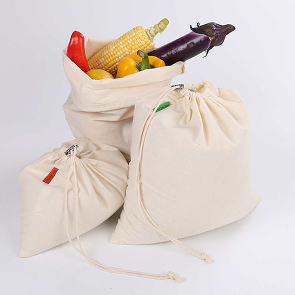 Storage Bag Reusable Cotton Drawstring Bag Fruit Vegetable Rice Bread Seeds Spices Nut Milk Organizer Pouch Shopping Storage Bag