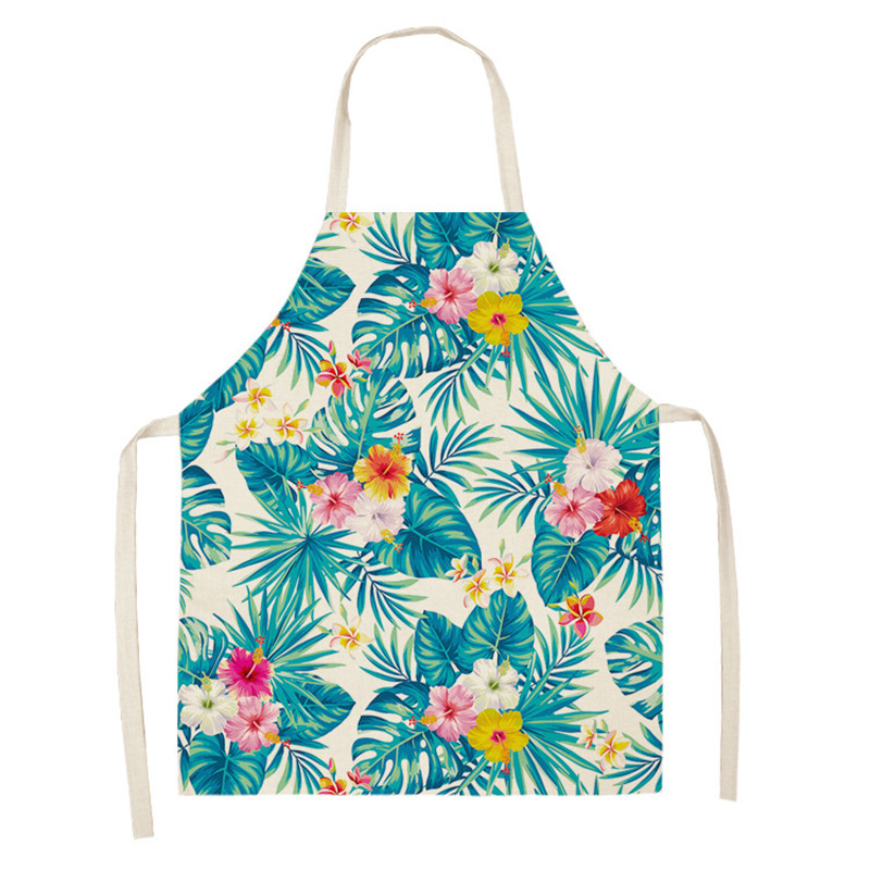 Green Leaves Aprons Kitchen Apron Women Tropical Plants Sleeveless Cotton Linen Aprons Home Cooking Baking Bibs Cleaning Tools
