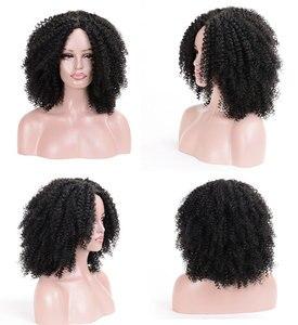 Image 4 - MSIWIGS 갈색 합성 Kinkly 곱슬 가발 여성을위한 4 색 Ombre 금발 짧은 아프리카 가발 아프리카 계 미국인 흑인 중간 부분 머리카락
