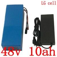 Batería de litio 48V 48V 10AH batería de bicicleta eléctrica 48V 500W 750W ebike batería de uso celular LG con cargador 20A BMS + 54 6 V 2A