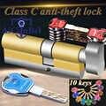 Cylindre de porte 60 65 70 75 80 85 90mm sécurité cuivre serrure cylindre intérieur chambre salon poignée laiton verrouillage porte de sécurité