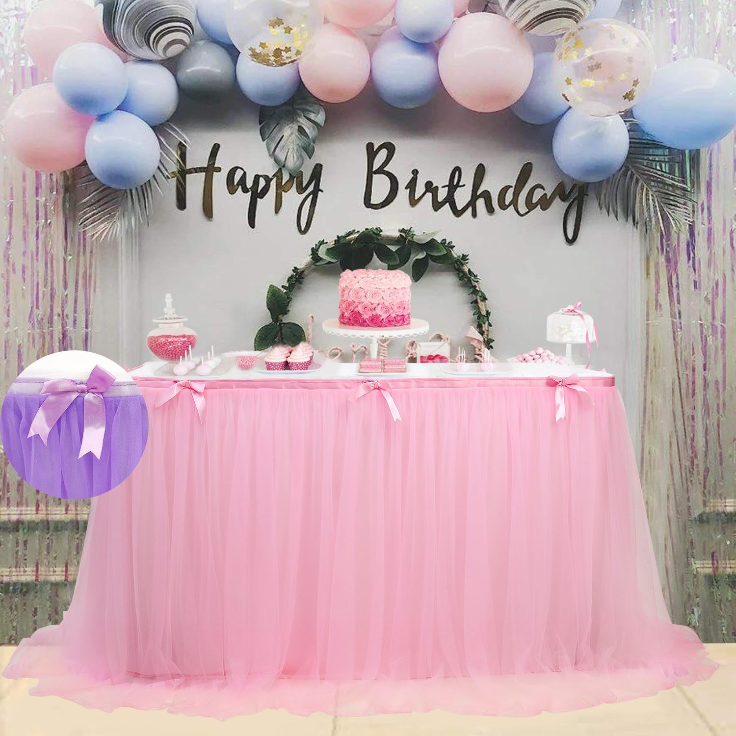 450*76cm Sweet Table Decoration Baby Shower Decorations Tutu Table Cloth Pink Tulle Skirt Romantic Wedding Birthday Party Favor