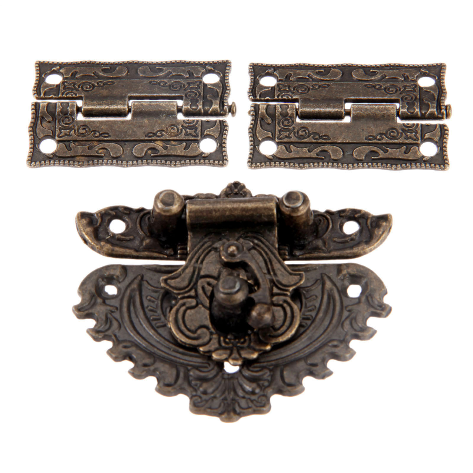 Antique Bronze Furniture Hardware Box Latch Hasp Toggle Buckle + 2Pcs Decorative Cabinet Hinges for Jewelry Wooden Box