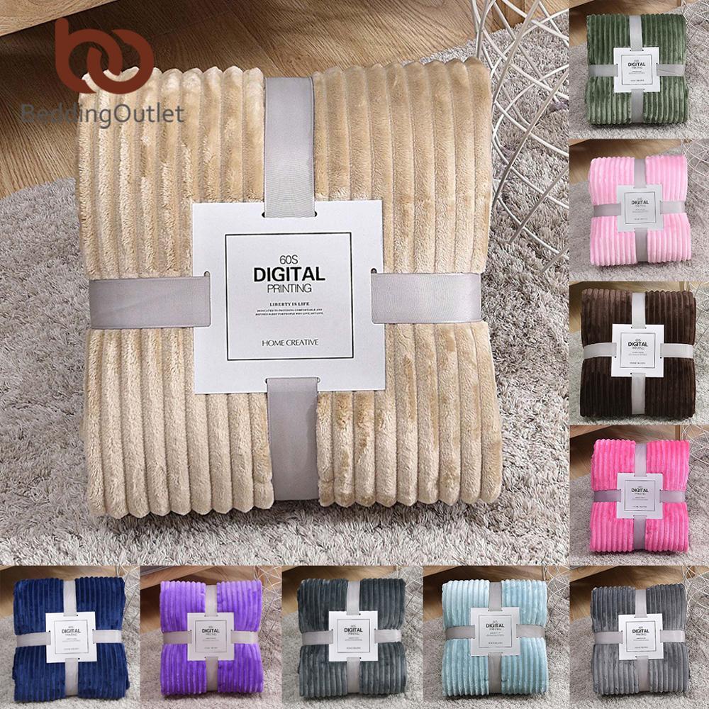 BeddingOutlet Throw Blanket Solid Color Striped Bed Blanket Soft Plush Bedspread Flannel Fleece Blanket For Couch Sofa Dropship