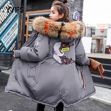Зимняя куртка, женская меховая парка с капюшоном, длинные пальто, вышивка, заплатка, пуховое пальто с хлопковой подкладкой, женские теплые утолщенные куртки для женщин
