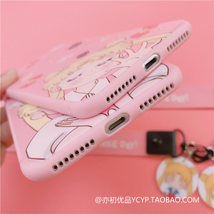 Image 3 - สำหรับ Redmi หมายเหตุ8pro และหน้าจอป้องกันฟิล์มน่ารักการ์ตูนสาวสีชมพูโทรศัพท์สำหรับ Xiaomi Note7pro K20 + จี้ + สายยาว