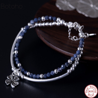 925 Sterling Silver Bracelet Handmade Vintage Natural Lapis Stone Bracelet With Charm Womens men Meditation Yoga Bracele