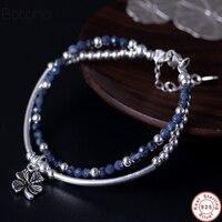 925 Sterling Silver Bracelet Handmade Vintage Natural Lapis Stone Bracelet With Charm Womens men Meditation Yoga Bracele