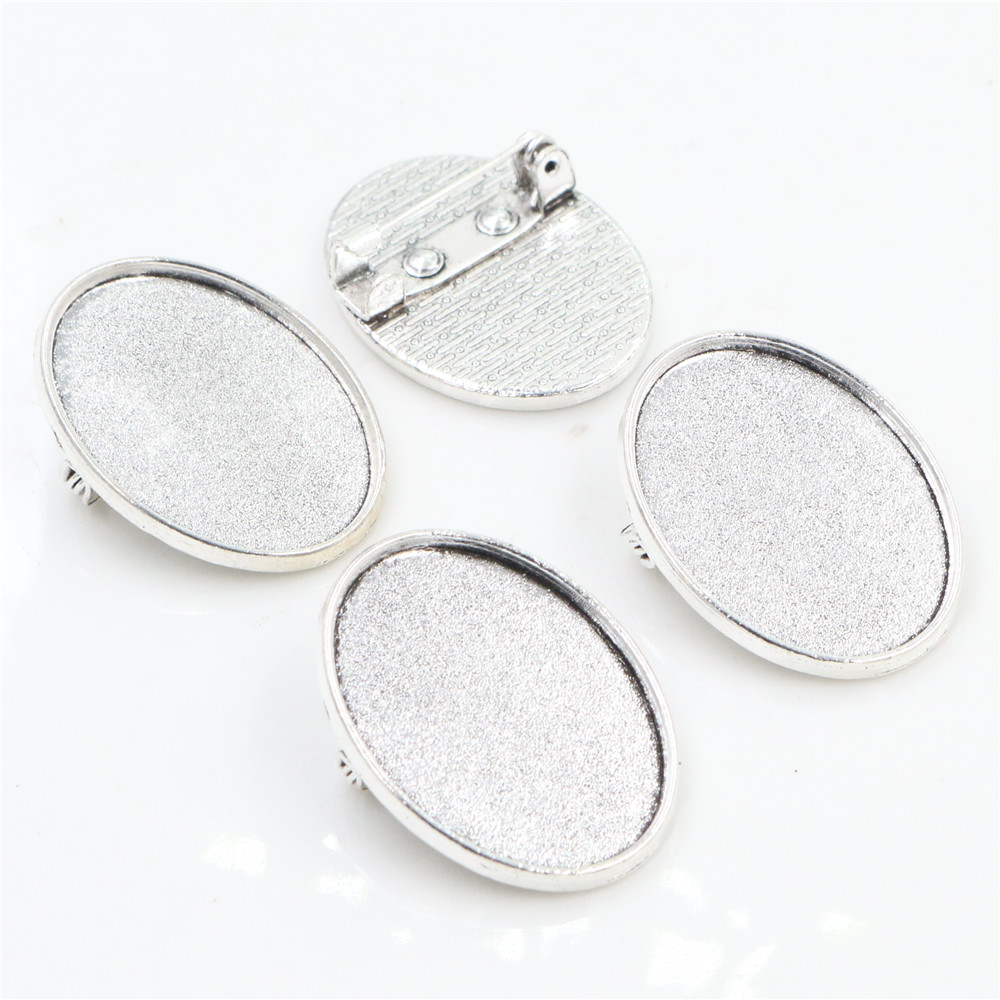 3pcs 18x25mm Inner Size Antique Silver Plated Brooch Pin Classic Style Cameo Cabochon Base Setting  (C1-37)
