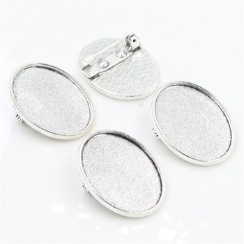 5pcs 18x25mm Inner Size Antique Silver Plated Brooch Pin Classic Style Cameo Cabochon Base Setting  (C1-37) 3pcs 18x25mm inner size antique silver brooch pin classic style cameo cabochon base setting c2 30