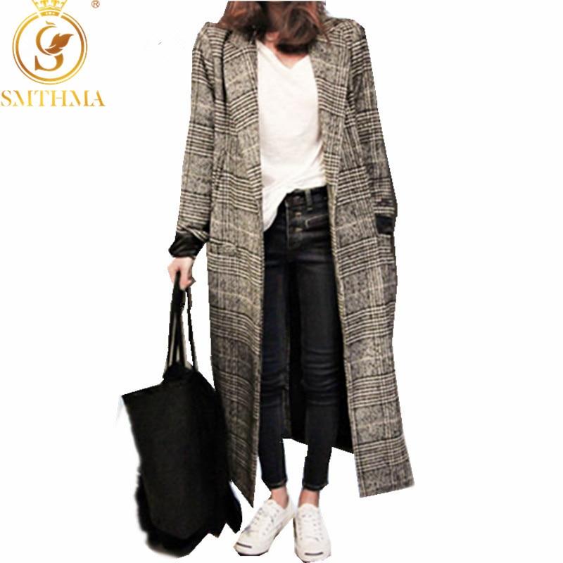 SMTHMA 2019 Winter Runway Tweed Wool Coat Women Jacket And Casual Lattice Single-breasted Long Plaid Coat Abrigo Mujer