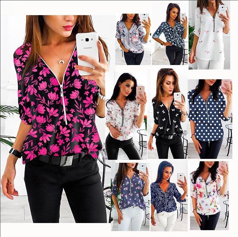 summer kimono shirts women 2020 women shirts  woman clothes  ladies tops  blouse printing v-neck Zipper shirts Indie Folk