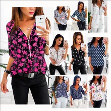 summer kimono shirts women 2020 women shirts  woman clothes  ladies tops  blouse printing v-neck Zipper shirts Indie Folk