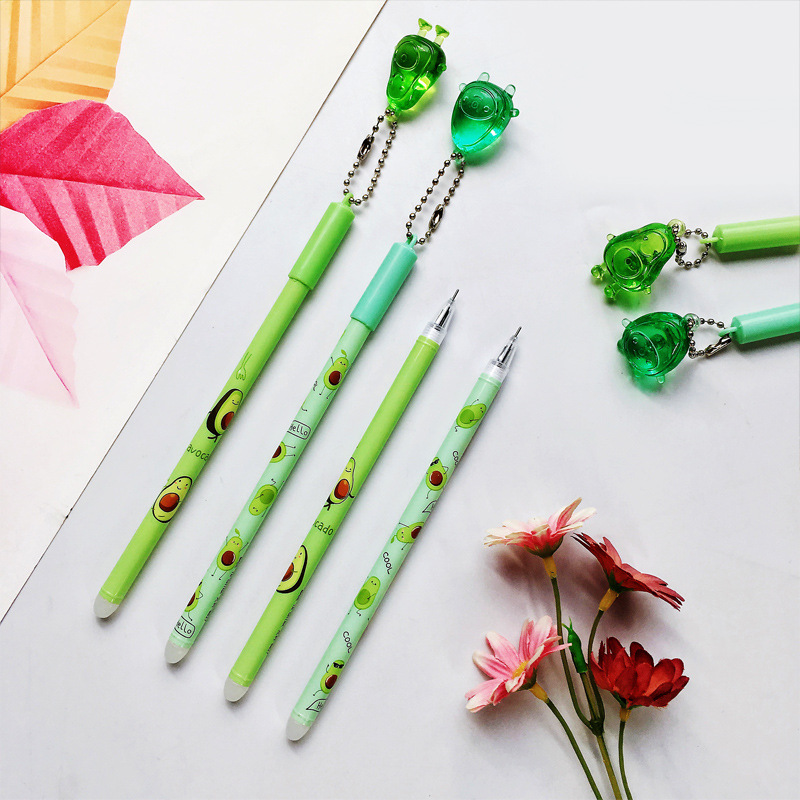 2 Pcs/lot Crystal Avocado Pendant Gel Pen Ink Pen Promotional Gift Stationery School & Office Supply