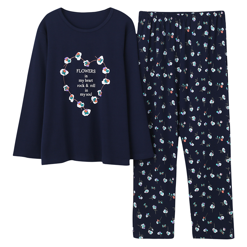 Plus Size 5XL Sleep Lounge Pajama Long Sleeve Top + Long Pant Woman Pajama Set Cartoon Print Pyjamas Cotton Sleepwear For Women