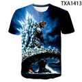 2021 new fashion dinosaur PS Tesla men's and women's 3D printed T-shirt fashion casual shirt summer monster breathable and sweat
