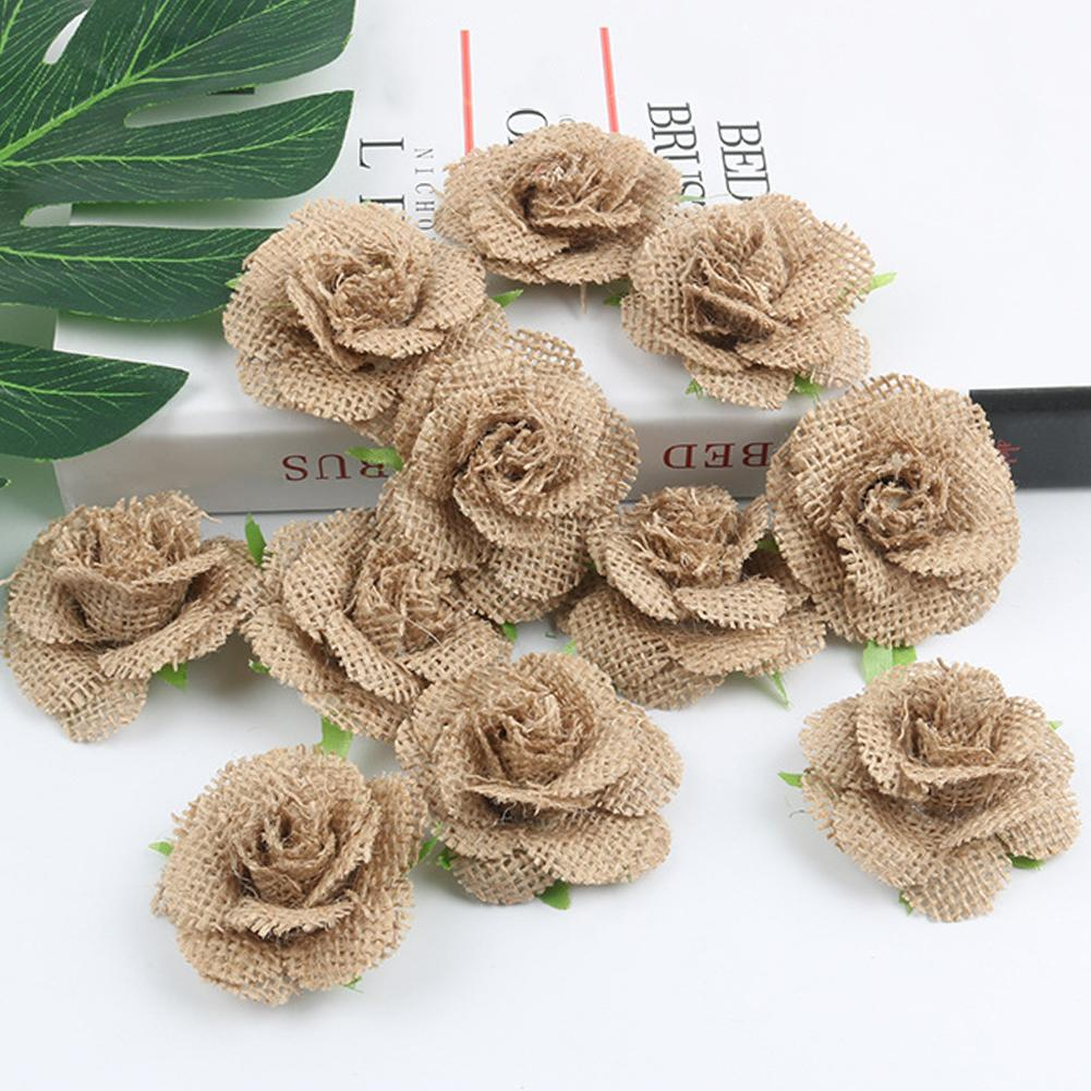 20x Rustic Flower Rose Wedding Burlap Hessian Jute Hat Decor White+Brown