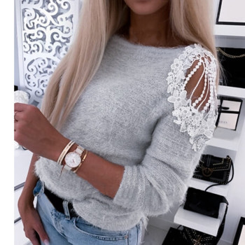Fashion Lace Plush Blouse Off Shoulder Casual Autumn Winter Ladies O-Neck Tops Female Women Long Sleeve Shirt
