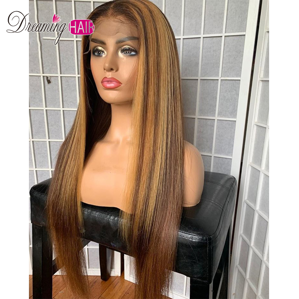 Hf02a8d011ebb420a8b5d72a929b393d4O Highlight 13x6 Deep Part 1B 27 Ombre Honey Blonde Brazilian Straight Hair Lace Front Human Hair Wigs Pre Plucked With Baby Hair
