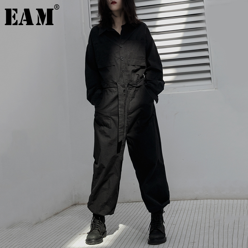 [EAM] Loose Fit Women Black Brief Spliced Jumpsuit New High Waist Pocket Stitch  Pants Fashion Tide Spring Autumn 2020 1B126