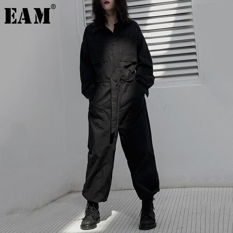 [EAM] Loose Fit Women Black Brief Spliced Jumpsuit New High Waist Pocket Stitch  Pants Fashion Tide Spring Autumn 2020 1B126