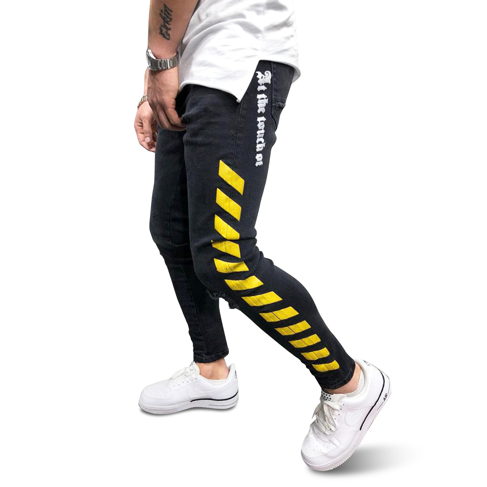 Men's Side Striped Skinny Slim Fit Ripped Distressed Stretch Jeans Pants