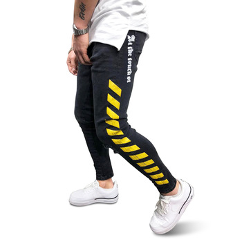 Men's Side Striped Skinny Slim Fit Ripped Distressed Stretch Jeans Pants skinny jeans for men distressed stretch jeans ice blue ripped skinny jeans slim fit dropshipping supply white tape design