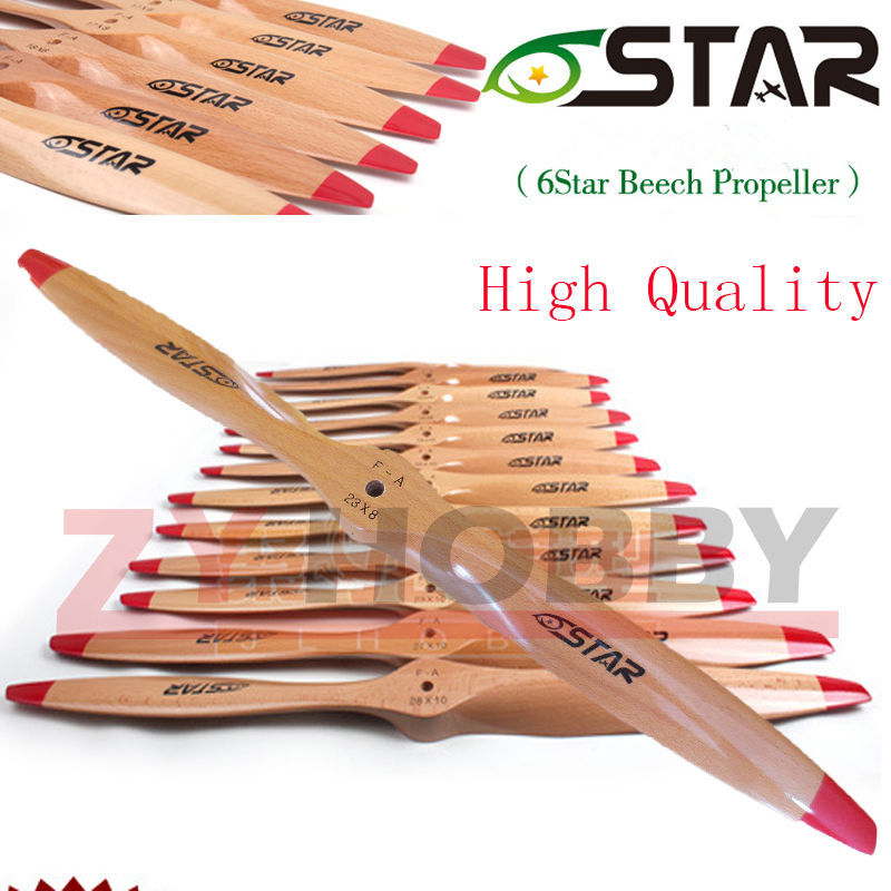 1 pc 6 Star 2 Blade Wooden RC Airplane Propeller Prop 16x8 /17x6 /18x6 /18x8 /18x10 /19x8 /19x10/20x8/22x10/23x8/23x12/27X10/28 image
