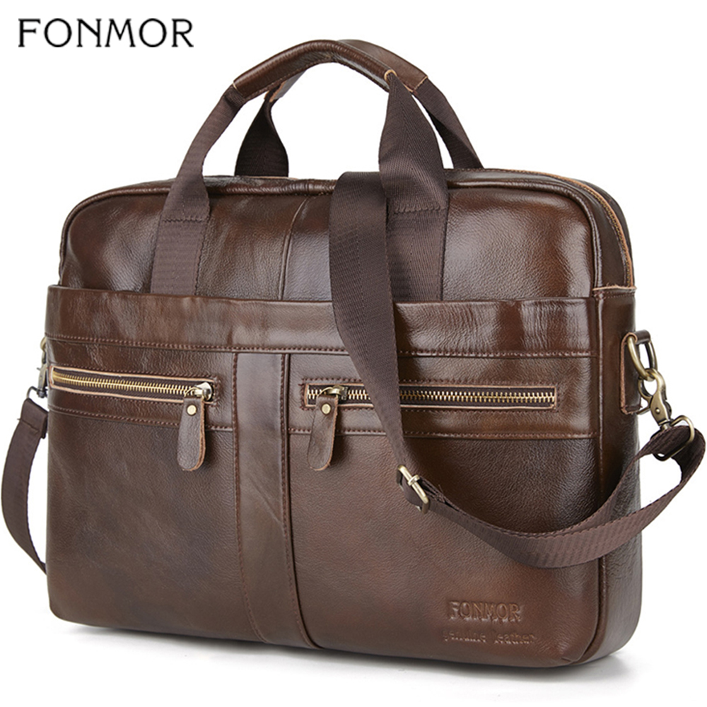 Fonmor Genuine Leather Briefcase Men Multilayer Laptop Bag Natural Cowhide Handbag For Man Messenger Shoulder Bags Crossbody Bag