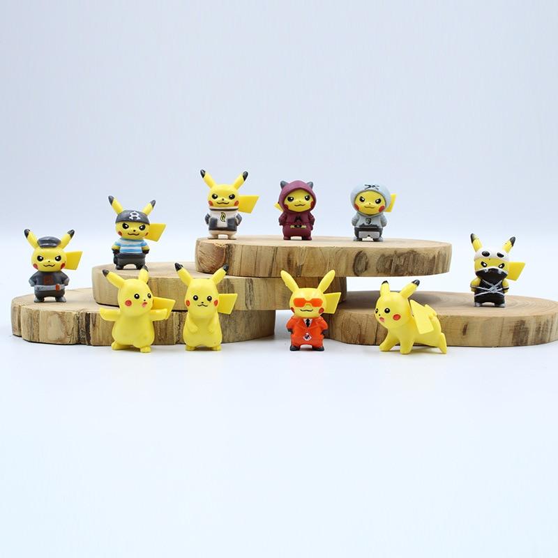 New Style 10pcs/set 4cm Mini Cartoon Pikachued Figure Pokemoned Figures Cartoon Pvc Action Figures Pokemon Toys For Children