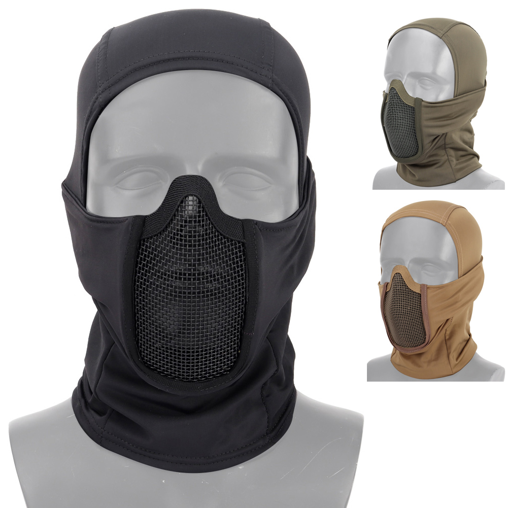 Tactical Paintball Mask Airsoft Half Face Mesh Steel Mask Hunting Military Cycling CS Protective Headgear Mask