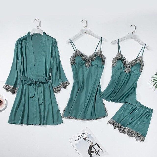 レーストリムブライダルウエディングローブ女性のセクシーなパジャマ緩い花嫁介添人着物バースドレスカジュアル浴衣 & 寝間着セット