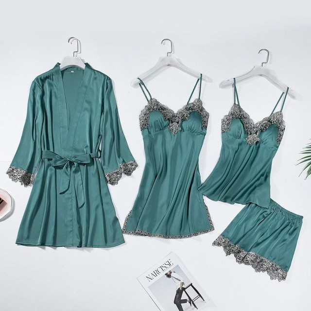 Lace Trim Bridal Wedding Robe Suit Women Sexy Sleepwear Loose Bride Bridesmaid Kimono Bath Gown Casual Bathrobe&Nighty Set